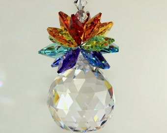 Chakra 7 Color Crystal Ball Pineapple Suncatcher Ornament Rainbow Maker Car Charm m/w Swarovski Crystal Octagons & Beads, Pearl Place N More