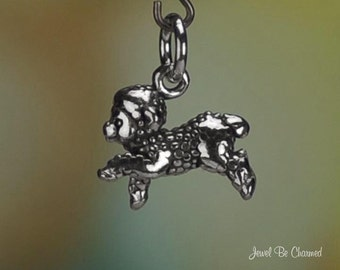 Sterling Silver Cute Playful Lamb Charm Baby Sheep Lambs 3D Small .925