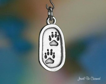 Sterling Silver Pawprints in Oval Charm Paw Prints Dog Cat Solid .925