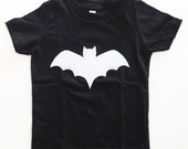 White Bat T Shirt Black or One Piece Kids Boy Girl Unisex Halloween