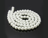 White Pearls, Glass Bead Strands, Pearlized Round Glass, 36 inch Strand, Choose 4mm, 6mm, 8mm, 10mm, Hole 1mm