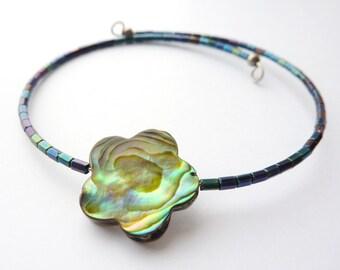 Abalone Bracelet, Shell Flower, Multicoloured Beads, Stacking Bracelet, Flower Bangle, Peacock Jewellery, Gift for Her, UK Bracelet
