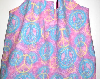 BIG ToteRoll Reusable Grocery Tote - Pastel Peace Signs