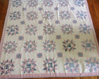 1930's Dove at the Window Vintage Handmade Quilt in Plaids