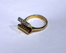 Vintage Heavy Gold Plate Abstract Cantilever Ring with Crystals