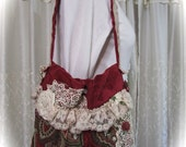 Red Chenille Tapestry Bag, handmade romantic victorian beautiful velvet chenille, beads buttons lace embellished
