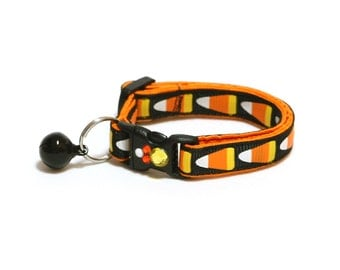 Halloween Cat Collar - Giant Candy Corn on Black - Kitten or Large Size