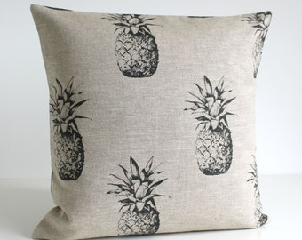 16x16 pillow cover, 100% linen, 16 Inch Pillow Cover, Pineapple Pillow, 16x16 Pillow Sham, Cushion Cover, Throw Pillow - Pineapple Black