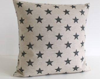 Linen Pillow Cover, 16 Inch Pillow Cover, Star Pillow Cover, 16x16 Pillow Sham, Cushion Cover, Throw Pillow Cover - Stars Black
