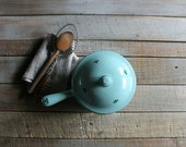Vintage Mint Green Enameled Cast Iron Sauce Pan with Lid