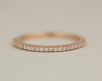 Solid Rose Gold Diamond Eternity Ring - 14k, 18k Rose Gold Wedding Band. Weddings & Anniversaries. Custom Jewelry  Made to Order