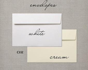 10 White or Cream Envelopes - Order Add On