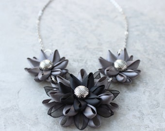 Silver Statement Necklace, Silver and Black Necklace, Pewter Necklace, Dark Gray Necklace, Dark Silver Bridesmaid Necklaces, Silver Wedding