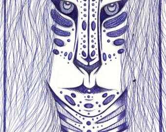 4x6 5x7 6x8 Fine Art Print Shapeshifter, Elf, Blue Pen, Tribal, Ethnic, Mystic, Shaman, Druid, Elven Fantasy Mystical Magical Art