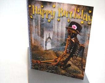 Post Apocalyptic Skeleton Birthday Card, Goth Card, Skeleton Card, Horror Sleleton Cards