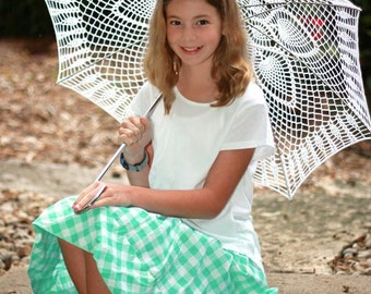 "42"" White Lace Crochet UMBRELLA PARASOL Beach Wedding"