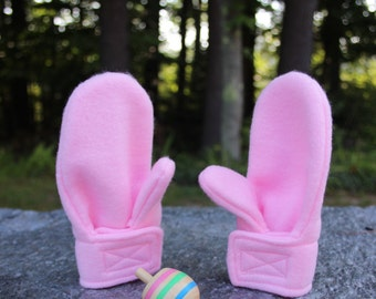 Stay on Wrap Fleece Mittens | Pink Fleece Mittens | Toddler Winter Mittens | Baby Winter Clothes