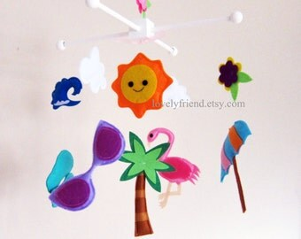 Customize Baby Mobile - Happy Beach Theme Nursery Crib Mobile - Umbrella, Sandals, Sunglasses, Palm tree, Flamingo cute Baby crib mobile