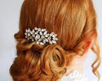 Art Deco Rhinestone Sparkly Bridal Comb Vintage Style Wedding