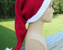 Christmas Elf Hat, Red and White, Cosplay, Christmas Costume, Elf Hat, Long Winter Claus Hat, Zelda Christmas Hat, Link Hat,