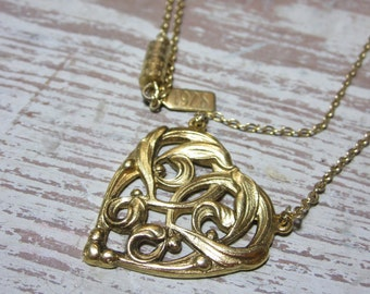1928 Filigree Heart Necklace