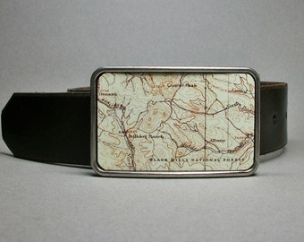 Belt Buckle Black Hills National Park South Dakota Vintage Map Unique Gift for Men or Women