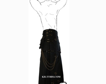 Interchangeable Long Black Gothic Steampunk Utility Kilt Custom Fit Adjustable with Large Expanding Cargo Pockets
