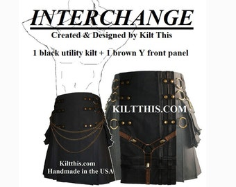 Interchangeable Black 10oz Canvas Snap Utility Kilt Black Brown Y Gear Set Custom Fit with Large Expanding Cargo Pockets