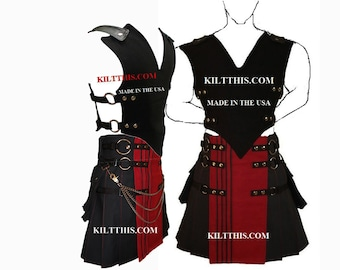 Interchangeable Black 10oz Canvas Vest and Utility Kilt Set Adjustable Custom Fit with Large Expanding Cargo Pockets