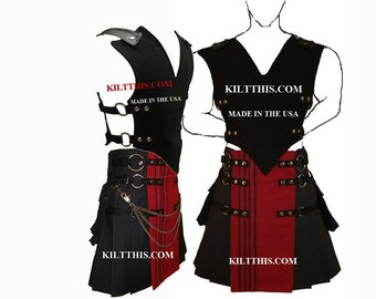 Interchangeable Black 10oz Canvas Vest and Utility Kilt Set Adjustable Custom Fit with Large Expanding Cargo Pockets