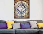 ON SALE 20% OFF See the Way - stretched canvas print, vegvísir, icelandic art, vegvisir print, compass rose print, large wall art, canvas