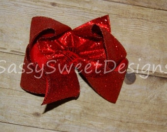 SSD Solid RED Glitter Sparkle Boutique Hairbow Sassy Sweet Designs Custom