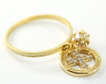 delicate gold charm ring, boho chic, skinny stacking ring, artisantree