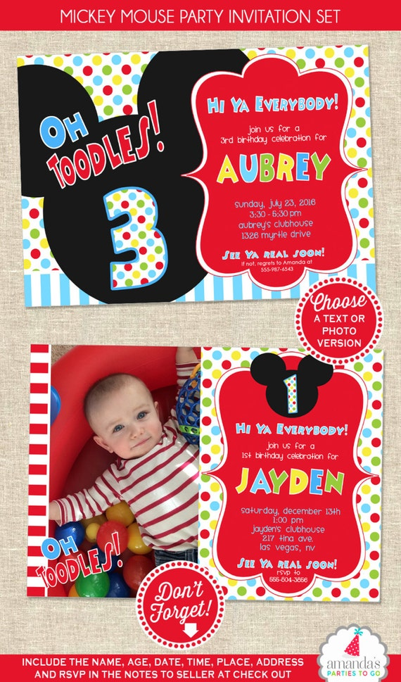 Mickey Mouse Birthday Invitation Mickey Mouse Party Invitation