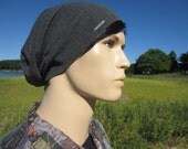 Men's Slouch Designer LOGO Beanie Cashmere Gray Artist Style Slouchy Beanies Charcoal Grey Tam Cotton Blend A792