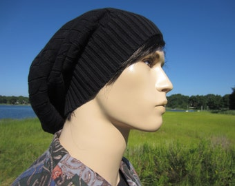 BOHO Men's Clohting Black Beanie Cable Knit Winter Hat, Men's Slouch Tam A1034