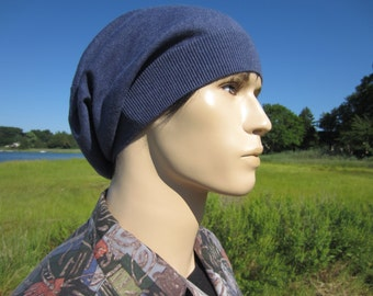 Men's Cashmere Hat Blue Slouchy Beanie Light Weight Beret Tams Cotton Blend A49