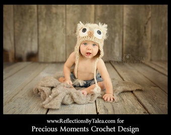 Newborn Owl Hat - Beige Owl - Fuzzy Baby Owl Hat - Crochet Hat Photo Prop - Boy Owl Hat - Girl Owl Hat - Winter Hat - Child Owl Hat