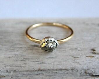 Raw pyrite ring. Gemstone ring. Gold ring band. Mixed metal.