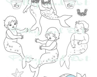 Mermaid  baby digital stamps  digital download