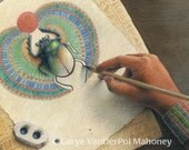 "Woman drawing a colorful Egyptian winged scarab beetle that is coming to life - ACEO Art Reproduction (Print) - ""Scribe"""