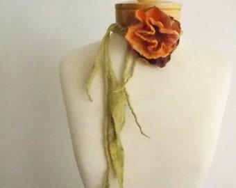 Merino felted necklace, Wedding Jewelry, Bridesmaid Jewelry Orange Flower Necklace