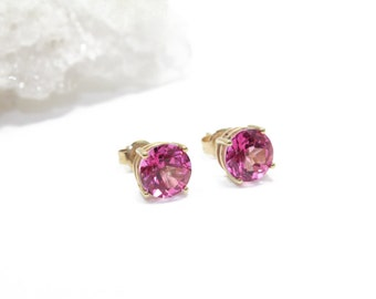 14k Gold Stud Earrings with Pink Tourmaline 8mm 4 cttw