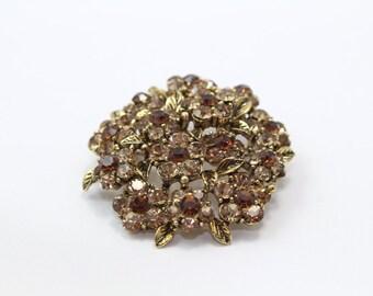 Small Round Topaz Flower Brooch with Swarovski Crystals