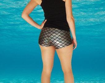 Shiny Silver Mermaid Fish Scale Roller Derby Shorts - in stock