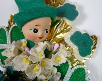 St Patrick's Day Corsage Vintage Spun Cotton Leprechaun Laddy Lucky Green Shamrocks Irish Party Retro Decoration