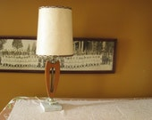 Mid Century Table Lamp Danish Modern Small Wood Lamp with Fiberglass Shade
