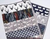 Boy Quilt, Deer, Stag, Elk, Woodland, Bears, Feather, Birch Forest, Modern Crib Bedding, Nursery Blanket, Children Toddler, Ready to Ship