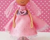 Clarissa Miniature Wooden Clothespin Doll