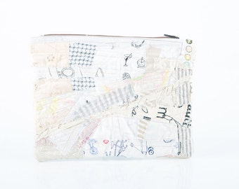 Back to School - Upcycled Crazy Modern Patchwork ,zipper pouch - Recycled Pencil Case- Colorful white Ivory scraps  With red  zipper